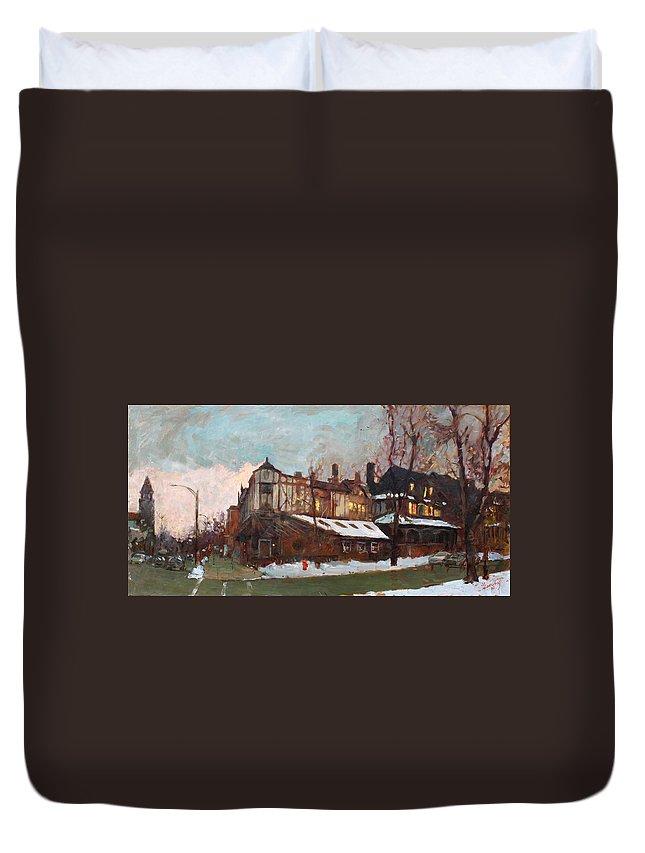 Landscape Duvet Cover featuring the painting Winter In Buffalo by Ylli Haruni