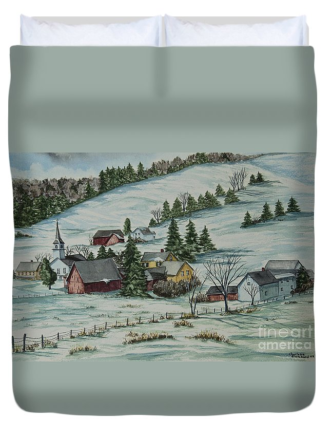 Winter Scene Paintings Duvet Cover featuring the painting Winter In East Chatham Vermont by Charlotte Blanchard