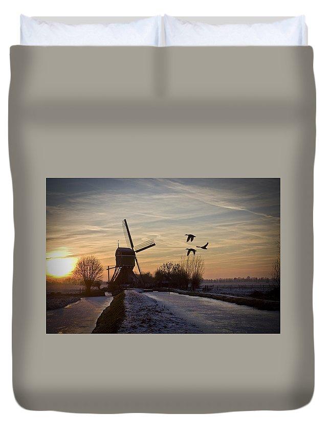 Dutch Duvet Cover featuring the photograph Winter In Holland-1 by Casper Cammeraat