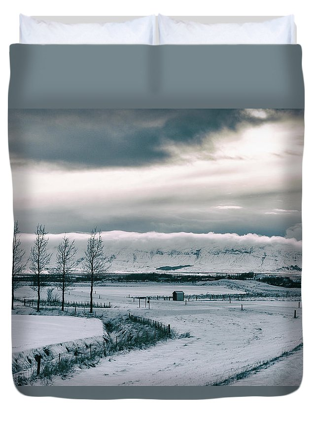 Iceland Duvet Cover featuring the photograph Winter In Iceland by Jean-Claude Ardila
