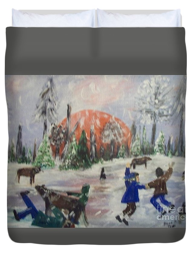 Winter Duvet Cover featuring the painting Winter In Louisiana by Seaux-N-Seau Soileau