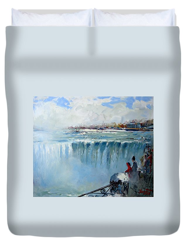 Landscape Duvet Cover featuring the painting Winter In Niagara Falls by Ylli Haruni