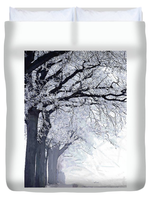 Winter Painting Tree Trees Frost Ice Snow Cold Nature Landscape Street Expressionism Duvet Cover featuring the painting Winter In Our Street by Steve K