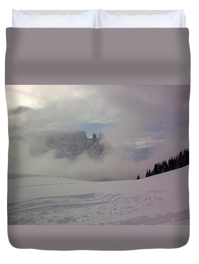 Landscape Duvet Cover featuring the photograph Winter In The Dolomite Alps by Valerie Ornstein