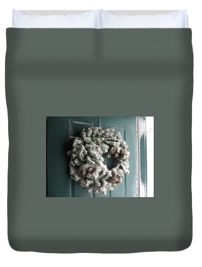Snow Duvet Cover featuring the photograph Winter In Va Beach by Lisa Cooley