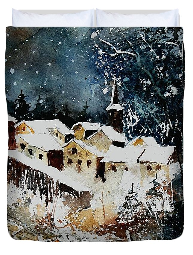 Winter Duvet Cover featuring the painting Winter In Vivy by Pol Ledent