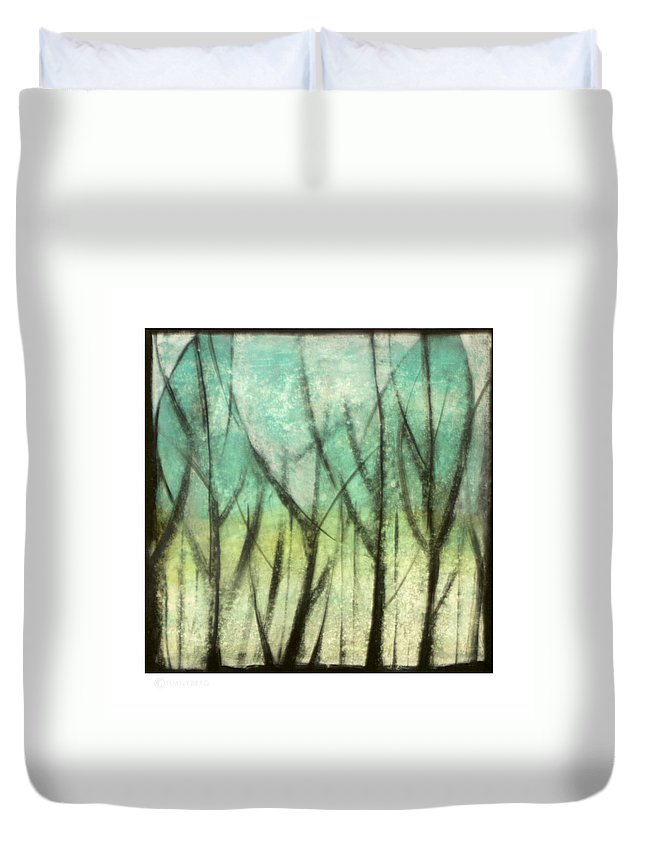 Trees Duvet Cover featuring the painting Winter Into Spring by Tim Nyberg