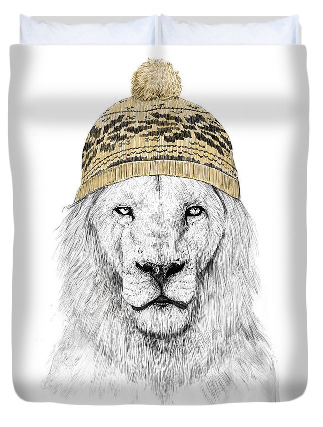 Lion Duvet Cover featuring the drawing Winter lion by Balazs Solti