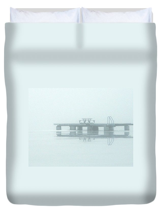 Reflection Duvet Cover featuring the photograph Winter Lake by Richard Larson
