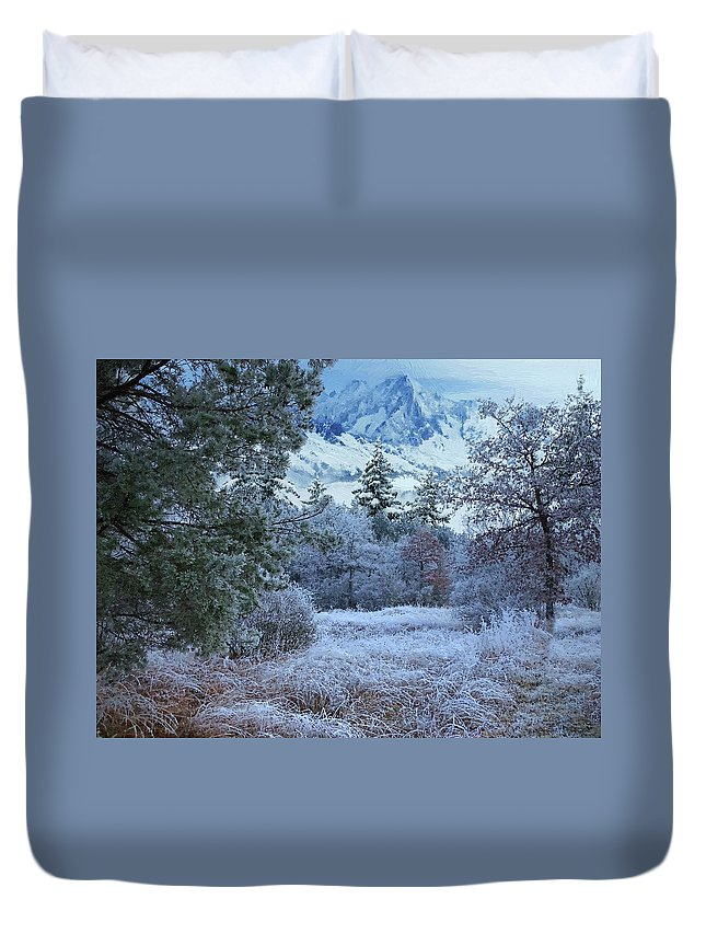 Winter Duvet Cover featuring the digital art Winter Landscape by Alex Lim