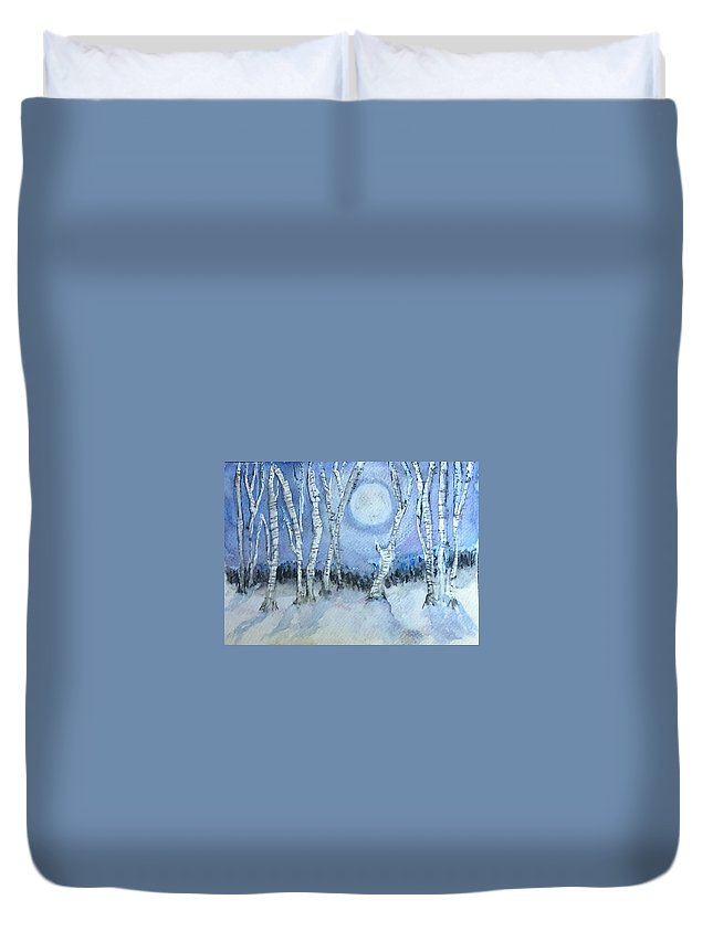 Winter Duvet Cover featuring the painting Winter Landscape by Jennie Hallbrown