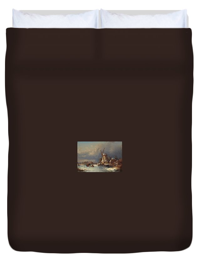 Joseph Magnus Stack Winter Landscape With Mills Zaardam Duvet Cover featuring the painting Winter Landscape With Mills Zaardam by MotionAge Designs