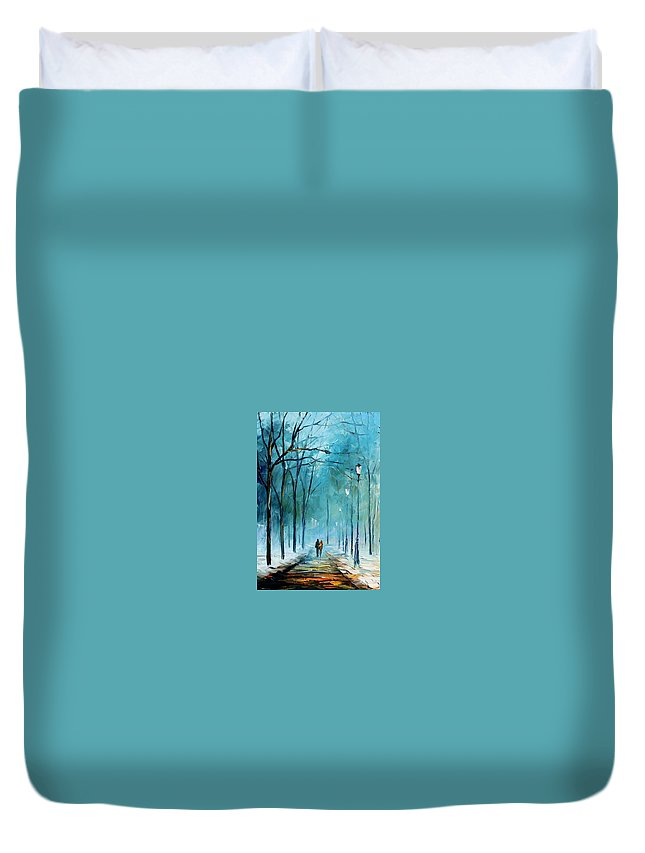 Landscape Duvet Cover featuring the painting Winter by Leonid Afremov