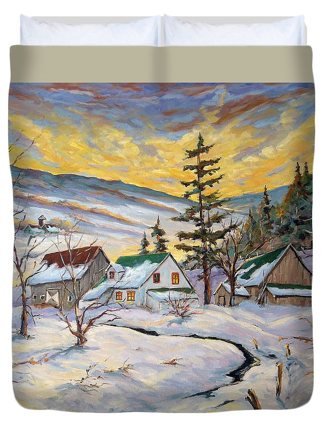 Landscape Duvet Cover featuring the painting Winter Lights by Richard T Pranke