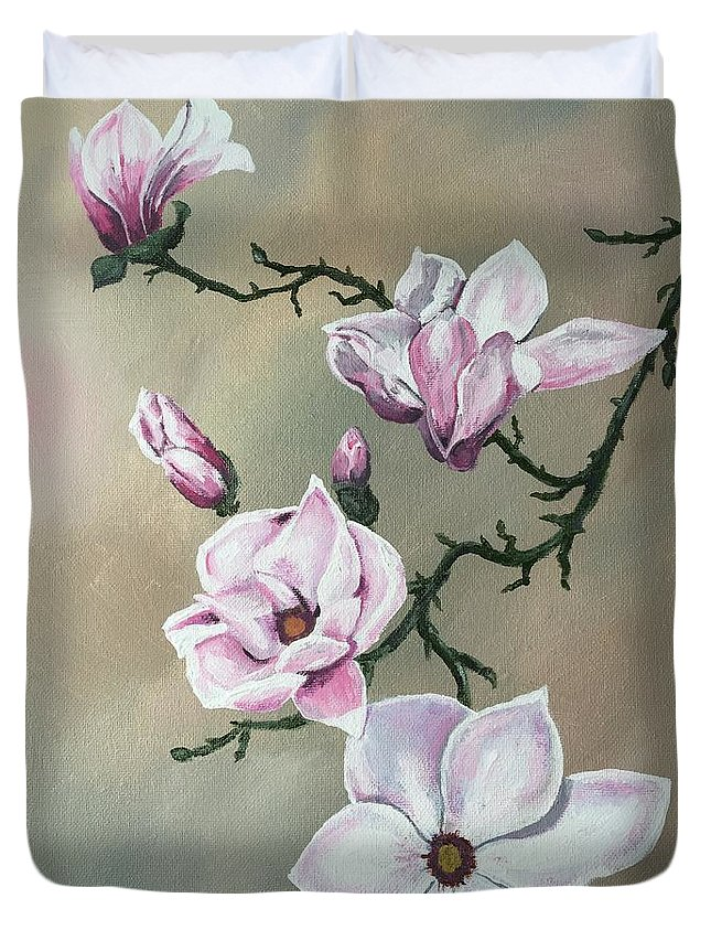 Floral Duvet Cover featuring the painting Winter Magnolia Blooms by Pamela Long