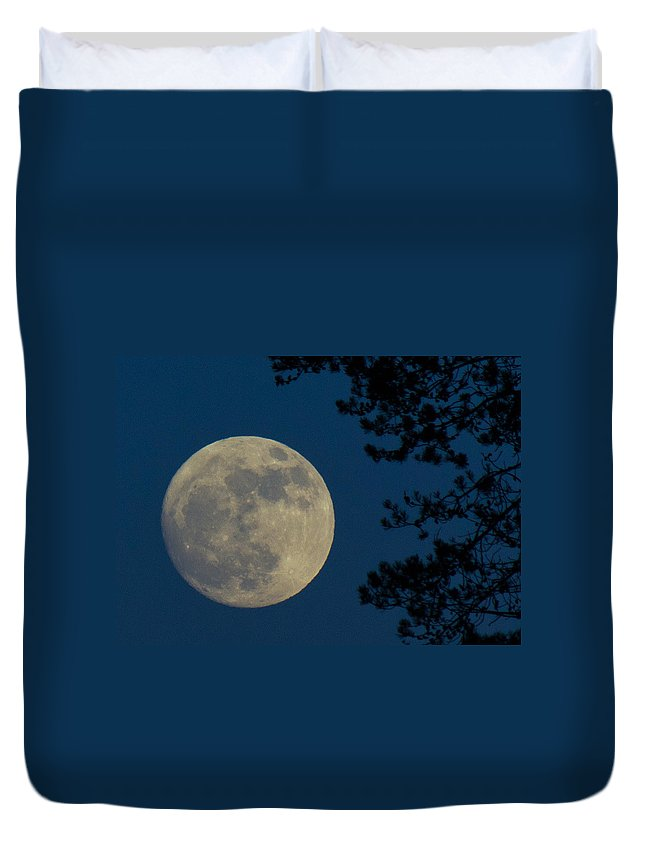 Moon Duvet Cover featuring the photograph Winter Moon by Randy Hall