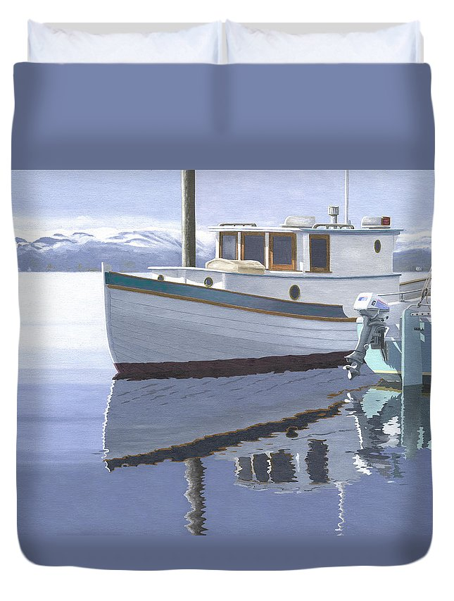 Marine Duvet Cover featuring the painting Winter Moorage by Gary Giacomelli