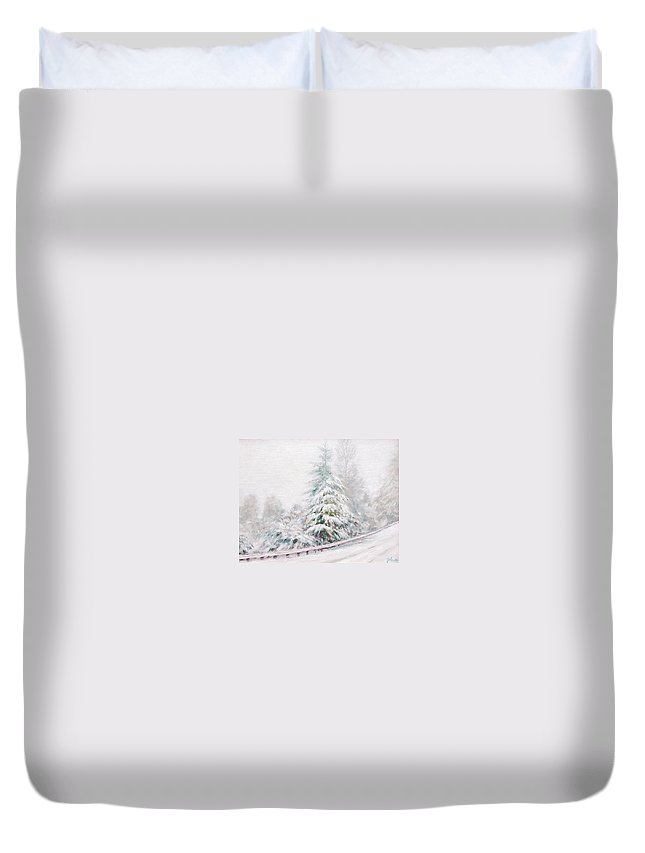 Winter Landscape Duvet Cover featuring the painting Winter Of 04 by Jim Gola
