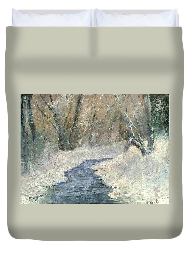 Snow Duvet Cover featuring the painting Winter On Stormcreek by Gail Kirtz