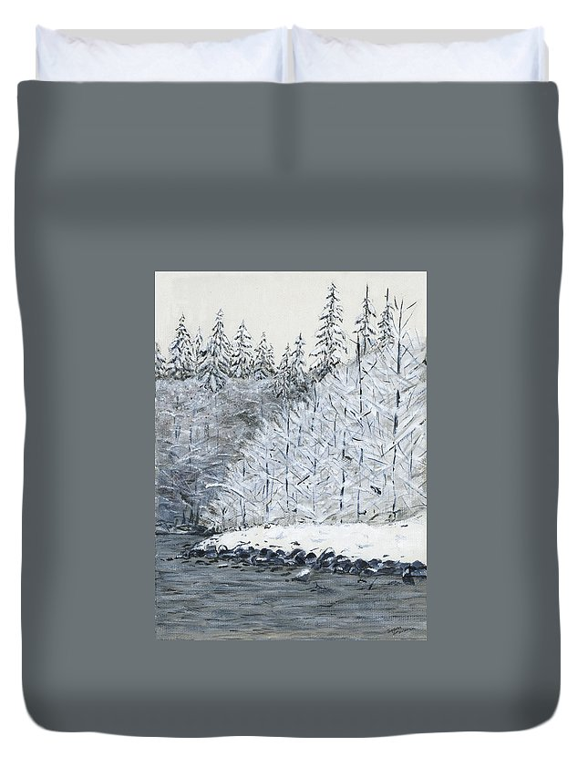 Winter River Duvet Cover featuring the painting Winter On The River by Sara Stevenson