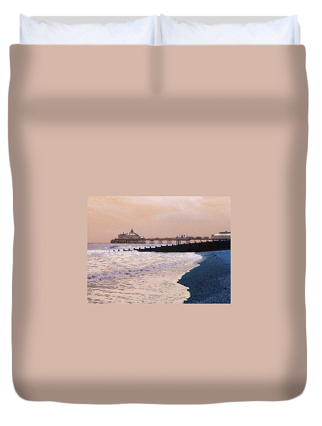 Winter Duvet Cover featuring the photograph Winter Pier by Heather Lennox