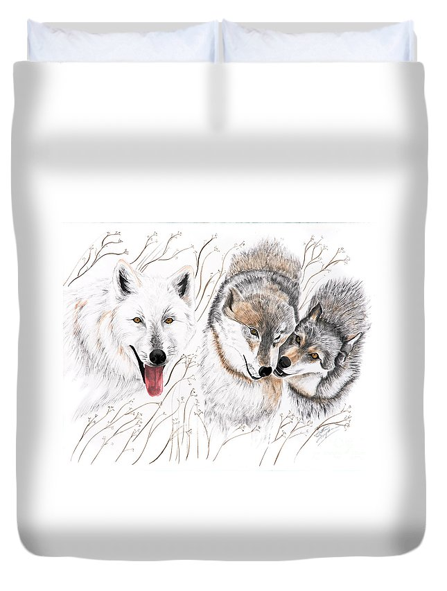 Joette Duvet Cover featuring the painting Winter Play by Joette Snyder