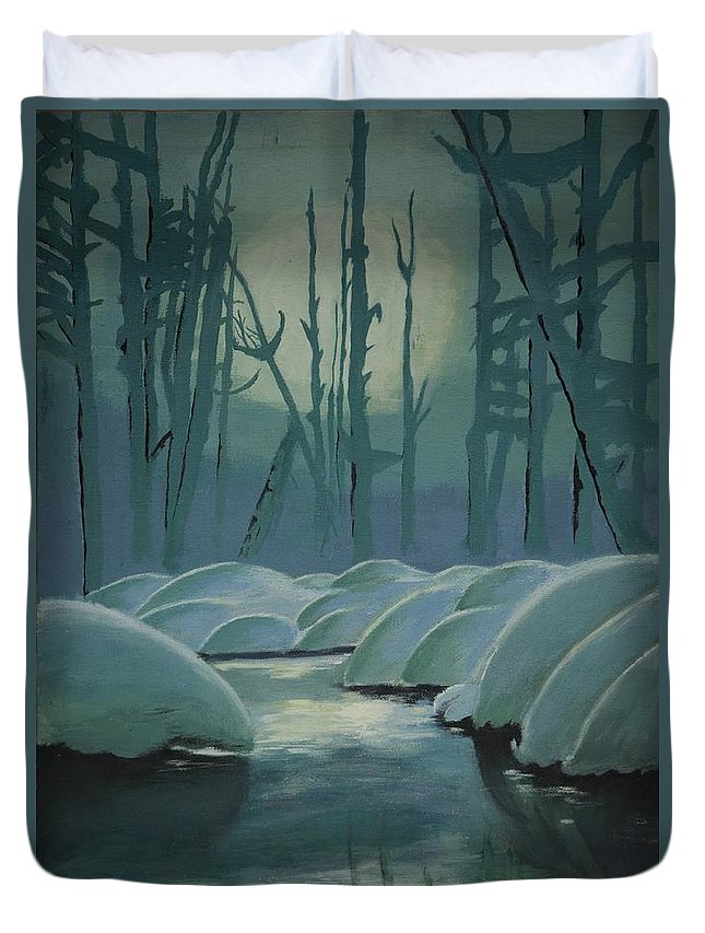 River Duvet Cover featuring the painting Winter Quiet by Jacqueline Athmann