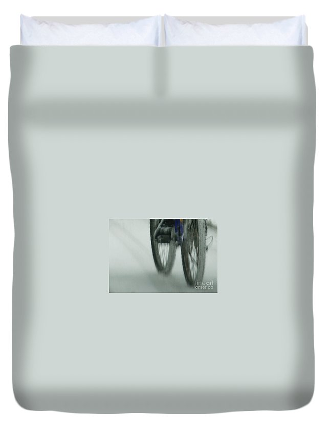 Bicycle Duvet Cover featuring the photograph Winter Ride by Linda Shafer