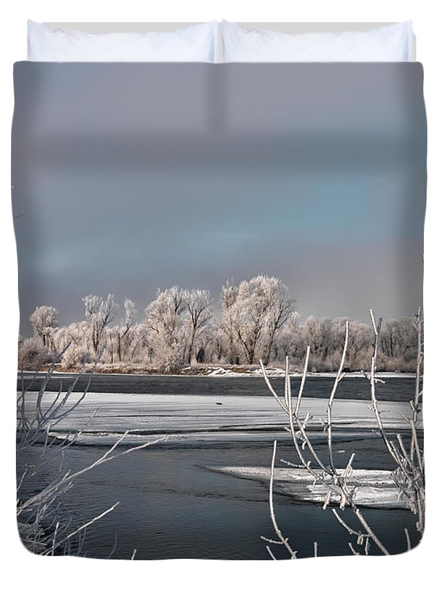 Scenic Duvet Cover featuring the photograph Winter River Light by Leland D Howard
