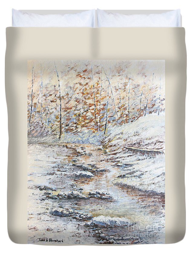 Landscape Duvet Cover featuring the painting Winter River by Todd Blanchard