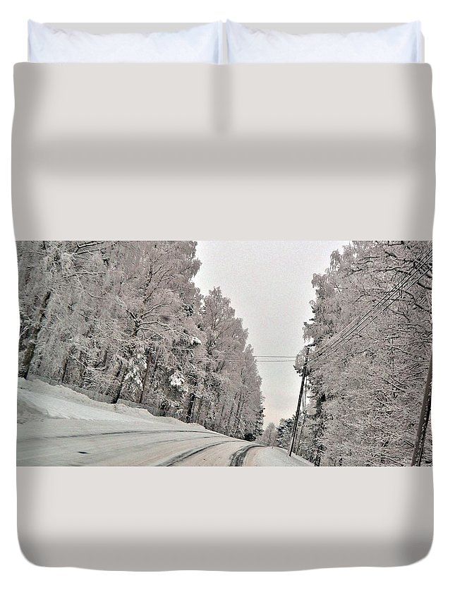 Duvet Cover featuring the photograph Winter Road by Stefan Pettersson
