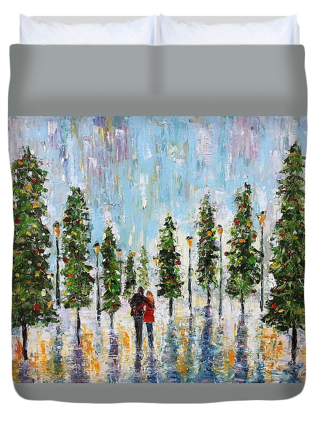 Snow Duvet Cover featuring the painting Winter Romance by Karen Tarlton