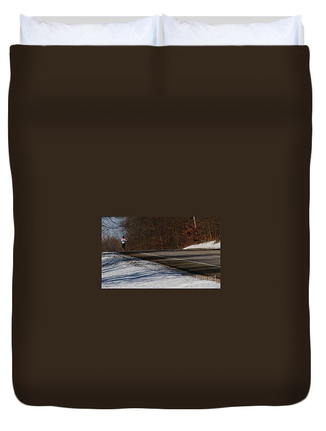 Winter Duvet Cover featuring the photograph Winter Run by Linda Shafer
