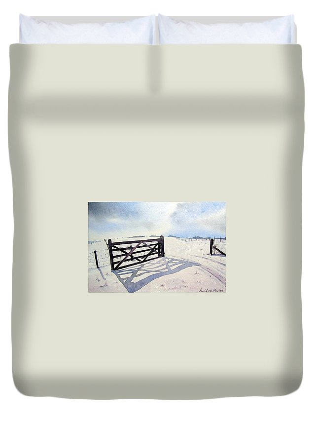 Landscape Duvet Cover featuring the painting Winter Scene With Gate by Paul Dene Marlor