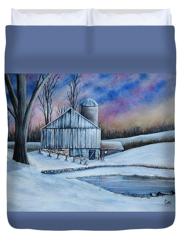Snow Duvet Cover featuring the painting Winter Serenity by Lisa Cini