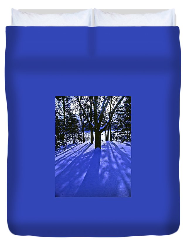 Landscape Duvet Cover featuring the photograph Winter Shadows by Tom Reynen