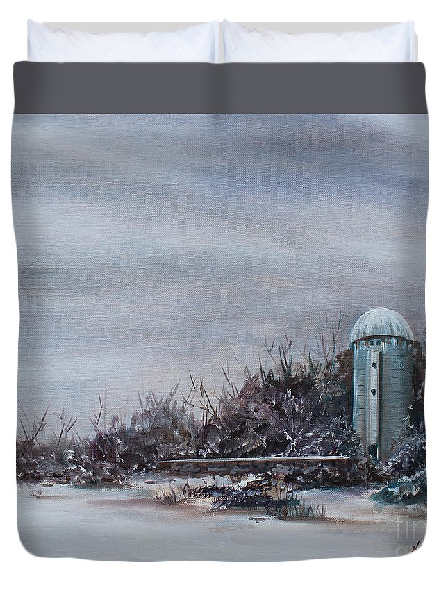 Silo Duvet Cover featuring the painting Winter Silence by Kristine Kainer