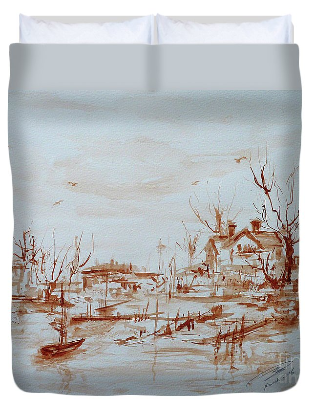 Landscape Duvet Cover featuring the painting Winter Sketch 1 by Xueling Zou