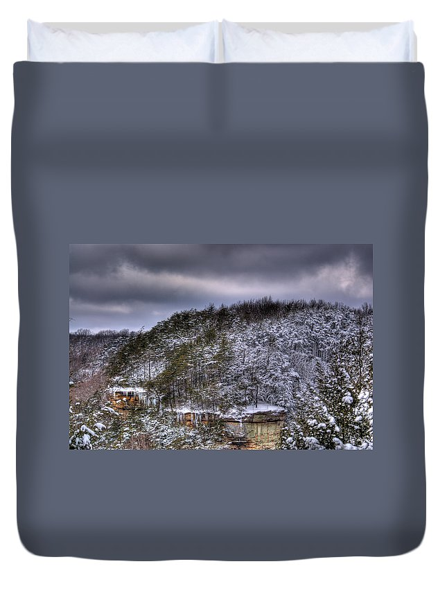 Cumberland Duvet Cover featuring the photograph Winter Snow Storm by Douglas Barnett