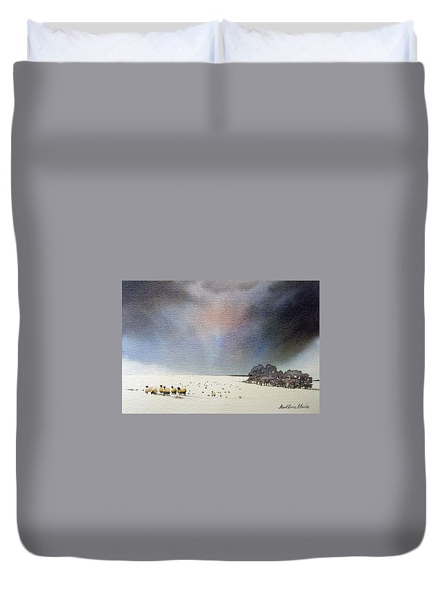 Landscape Duvet Cover featuring the painting Winter Snow Swaledale by Paul Dene Marlor