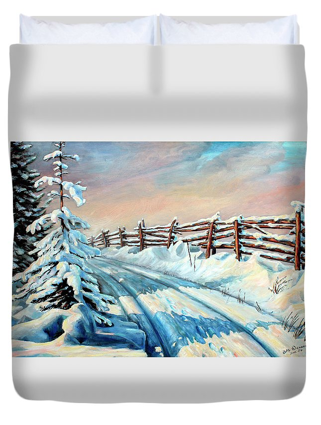 Winter Landscape Art Duvet Cover featuring the painting Winter Snow Tracks by Hanne Lore Koehler