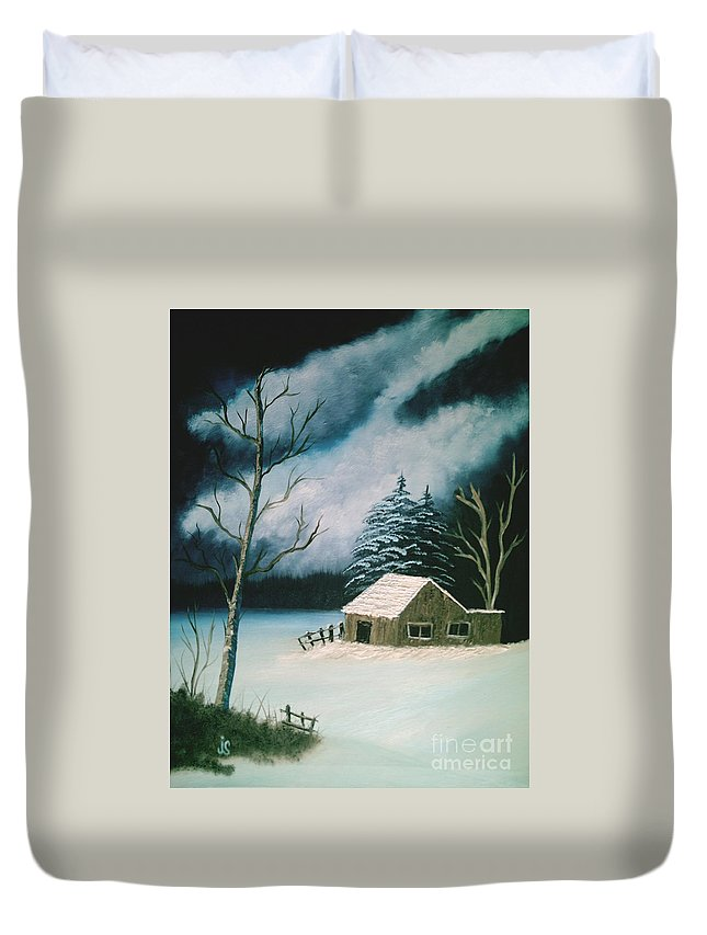 Winter Landscape Duvet Cover featuring the painting Winter Solitude by Jim Saltis