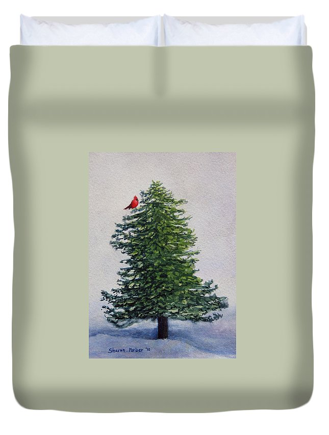 Cardinal Duvet Cover featuring the painting Winter Solstice by Sharon Farber