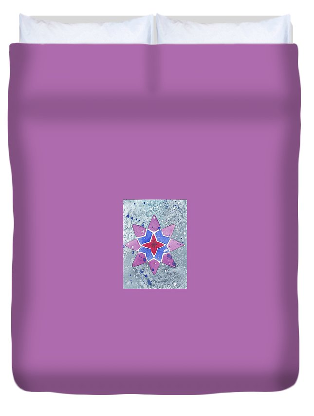 Star Duvet Cover featuring the mixed media Winter Star by Paula Anthony