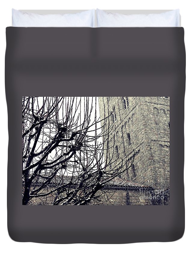 Cloister Duvet Cover featuring the photograph Winter Storm At The Cloisters 2 by Sarah Loft