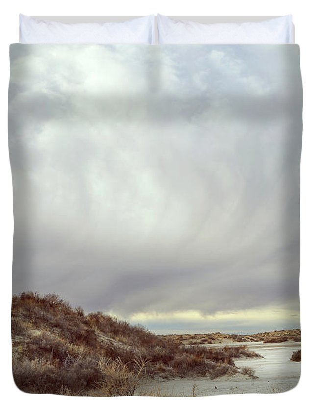 Landscapes Duvet Cover featuring the photograph Winter Storm Clouds 2018-2289 by Karen W Meyer