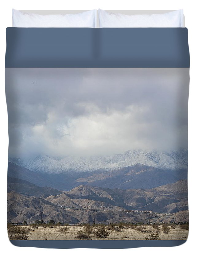 Winter Storm Duvet Cover featuring the photograph Winter Storm On Desert Mountain by Colleen Cornelius