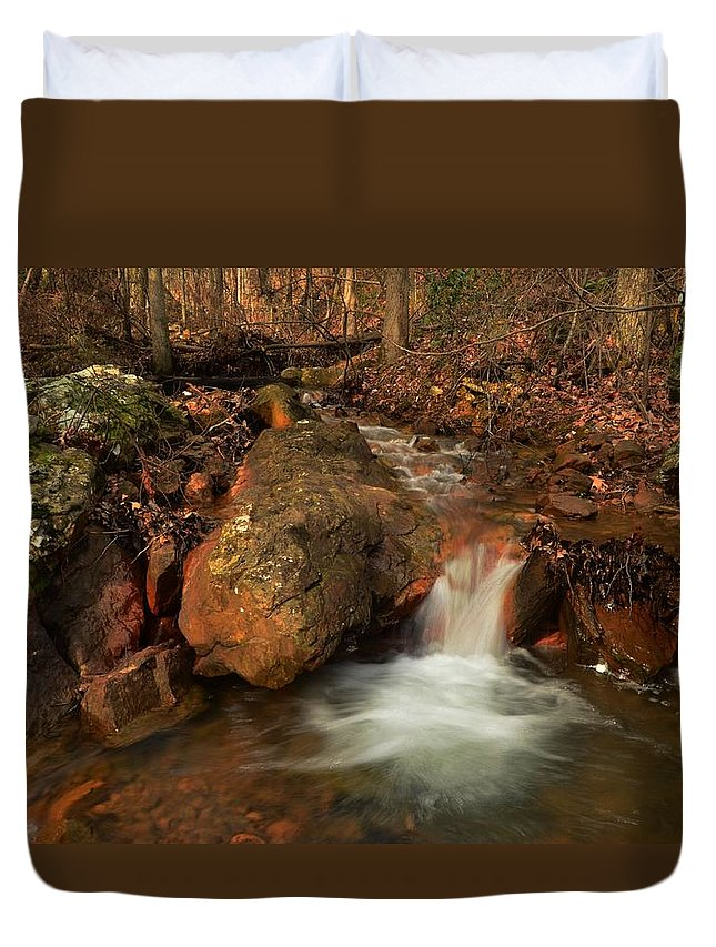 Stream Duvet Cover featuring the photograph Winter Stream by Robert Coffey