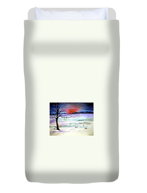 Ice Duvet Cover featuring the painting Winter Sun by Sandy Ryan