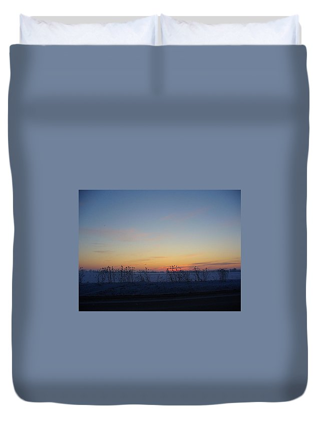Sunrise Duvet Cover featuring the photograph Winter Sunrise In Lambton County by Peggy King